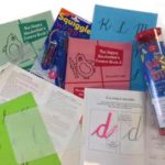 A bundle of books and activities to improve cursive writing for children