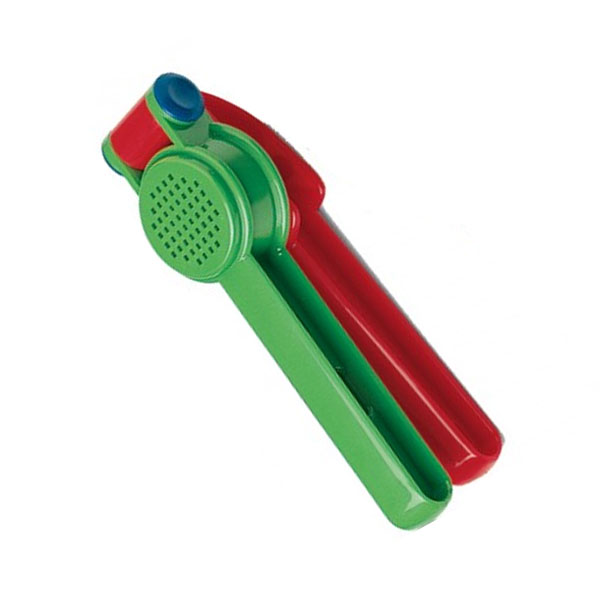 A fine motor tool for pressing playdough through a sieve, great for strengthening hands
